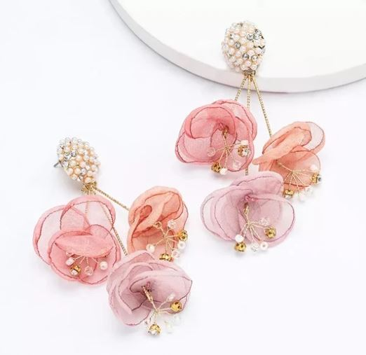 Silk Flower Earrings - Pink