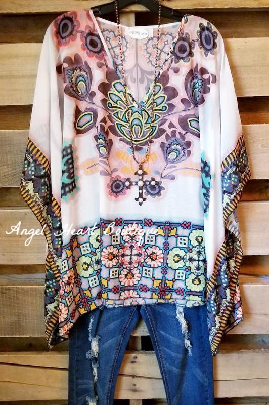 Flower Child Oversized Sheer Tunic  - White-BLACK FRIDAY [product type] - Angel Heart Boutique