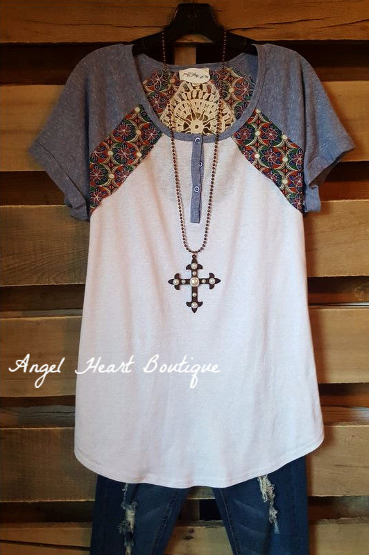 Casual Gateways Tee - Blue - Umgee - Top - Angel Heart Boutique  - 1