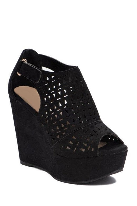 Black Wedged Heels - SALE