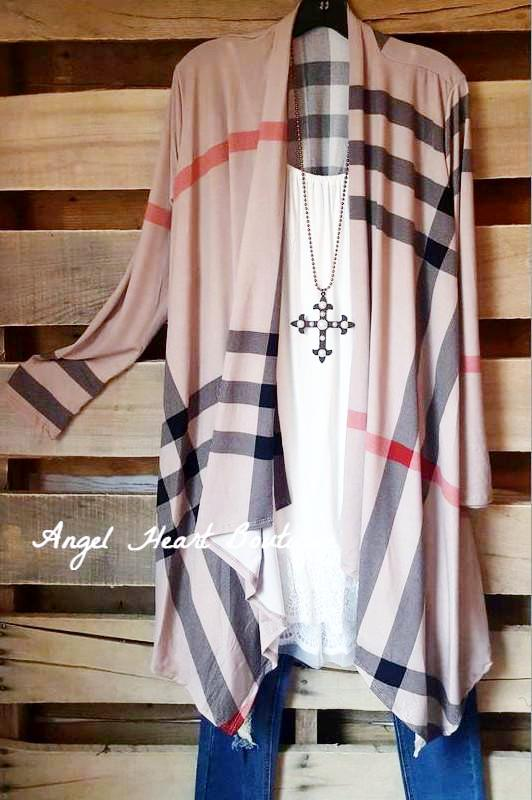 Plaid Cardigan - Mocha [product type] - Angel Heart Boutique