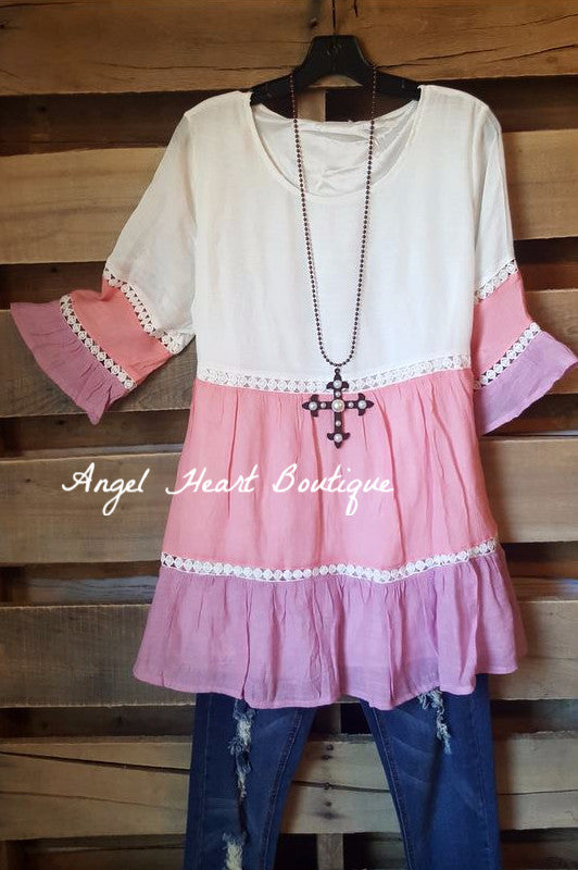 Dreaming in Three Tones Top - Pink [product type] - Angel Heart Boutique