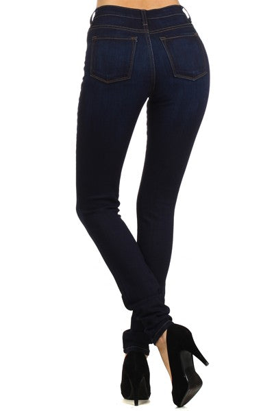 Elastic Very High Waist Skinny Dark Wash Jeans