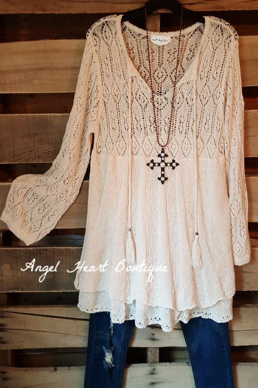 All The Love Sweater - Natural - Umgee - Sweater - Angel Heart Boutique  - 1