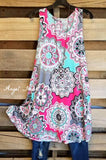 Get Your Groove On Tunic - Pink/Mint Mix [product type] - Angel Heart Boutique