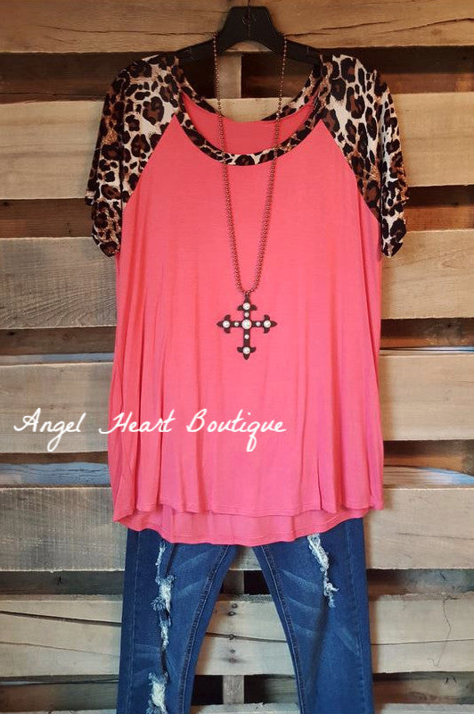 Leopard Top Short Sleeve - Coral