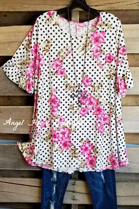 Flowers And Dots Tunic - Black [product type] - Angel Heart Boutique