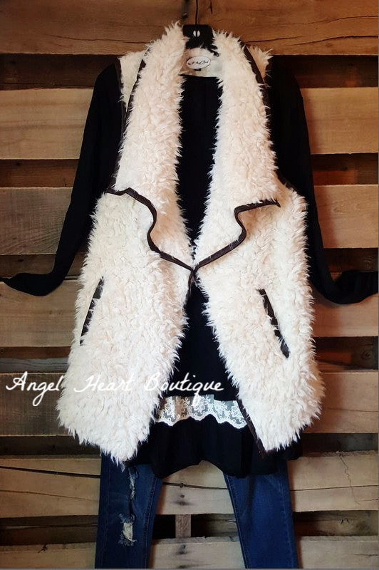 Fur Ever Great Vest - Cream - TCEC - Vest - Angel Heart Boutique  - 1