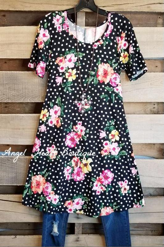 Polka Dot And Flowers Tunic - Black