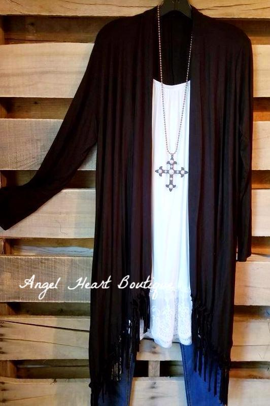 All That Fringe Cardigan - Black