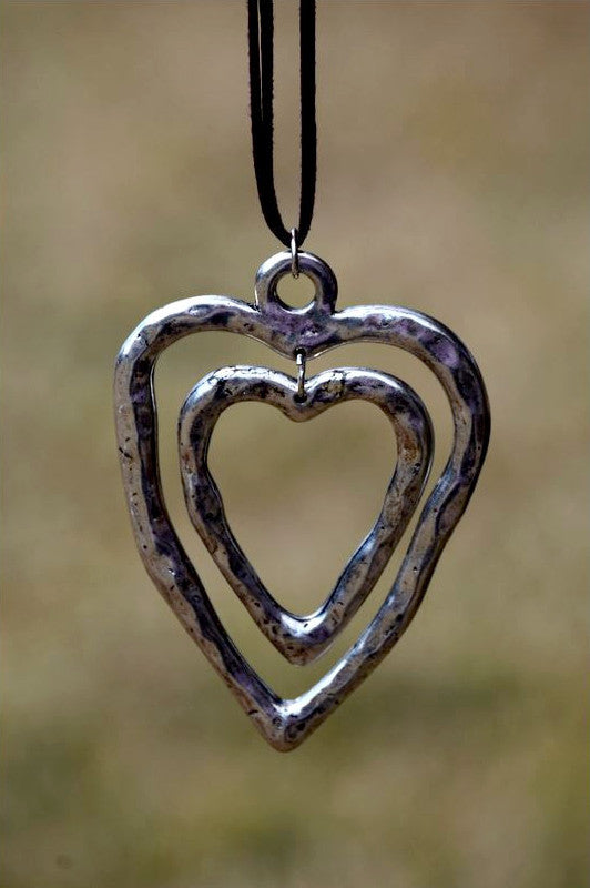 Double Heart Brown Leather Long Necklace