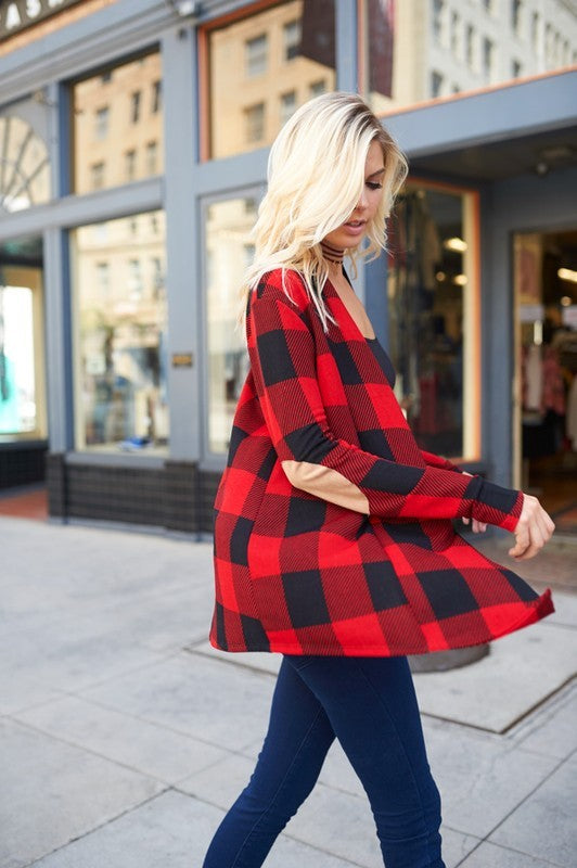My Favorite Plaid Cardigan - Red [product type] - Angel Heart Boutique