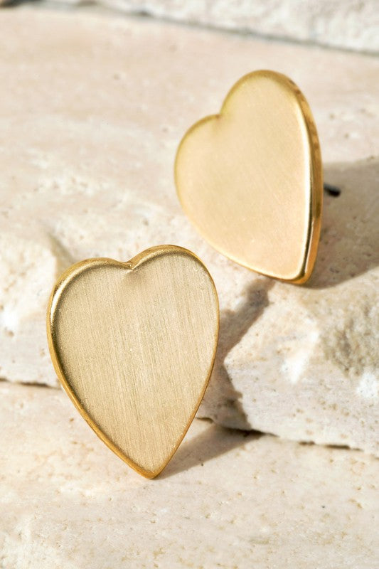 Floating Heart Earrings - Matte Gold
