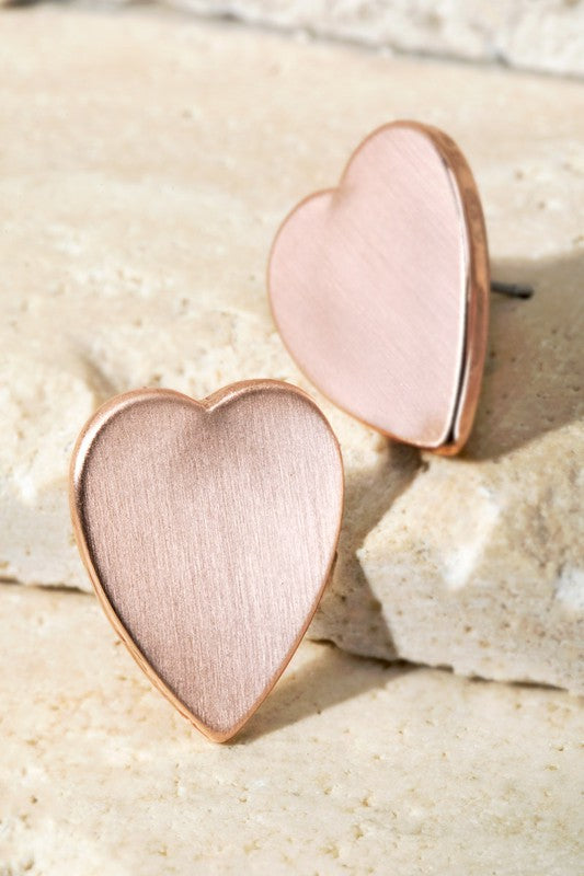 Floating Heart Earrings - Matte Rose