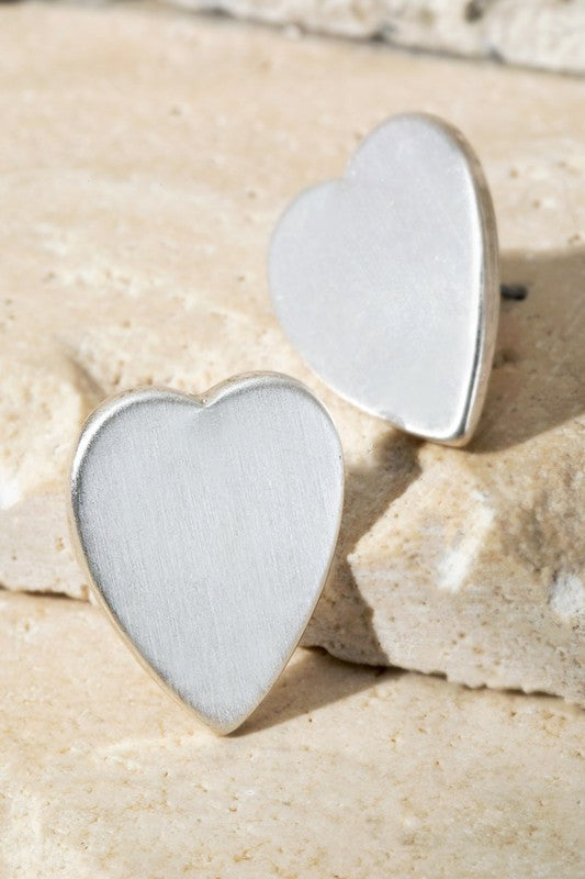 Floating Heart Earrings - Matte Silver