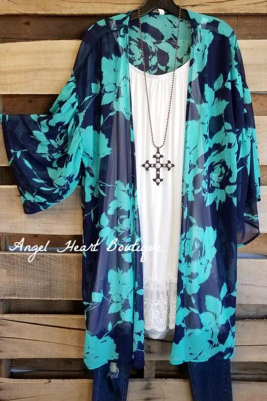 Sweet Romance Kimono - Navy [product type] - Angel Heart Boutique