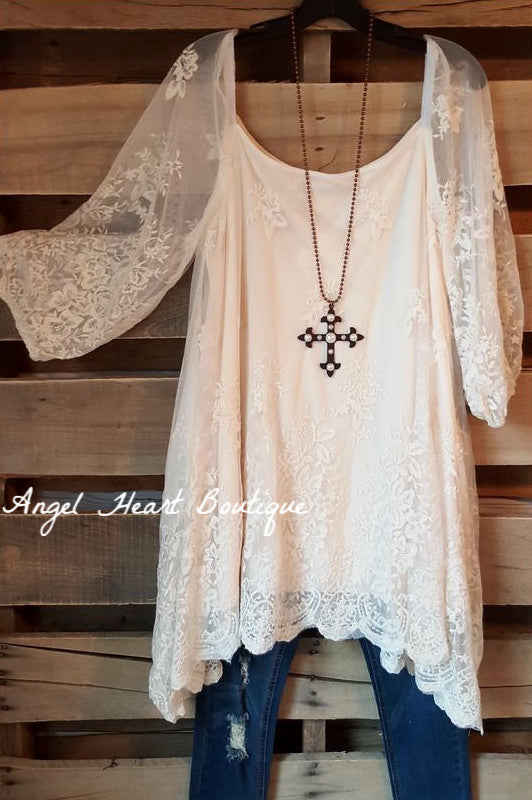 More Than A Feeling Tunic - Cream [product type] - Angel Heart Boutique