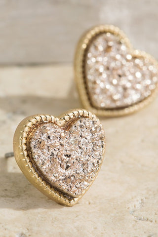 Wild Heart Shaped Earring - Gold/Leopard