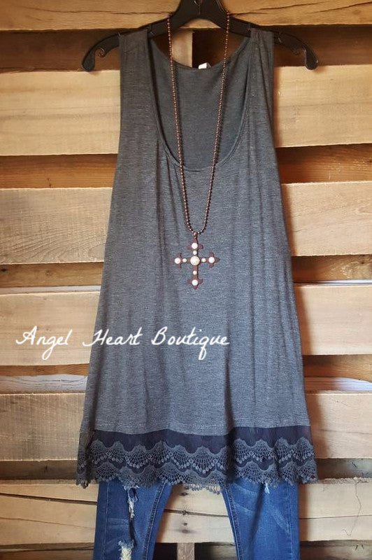 Extender: Slip on Tank/Tunic - Charcoal [product type] - Angel Heart Boutique