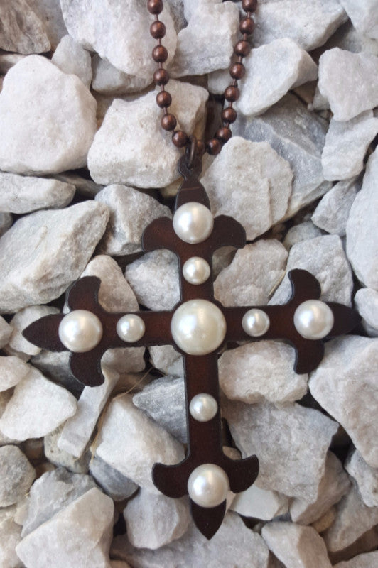 Cross To My Heart Necklace - Pearl - Turquoise Heavan - Necklace - Angel Heart Boutique  - 1