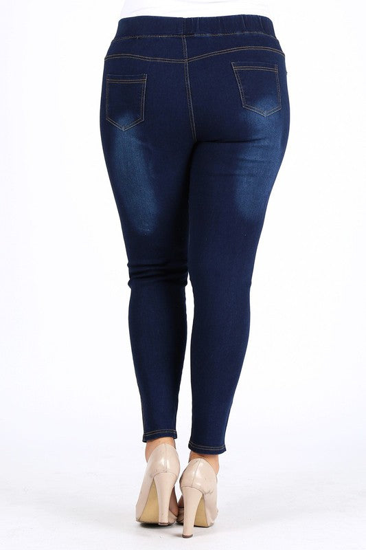 Treasured Look Elastic High Waisted Jeggings - Med. Blue