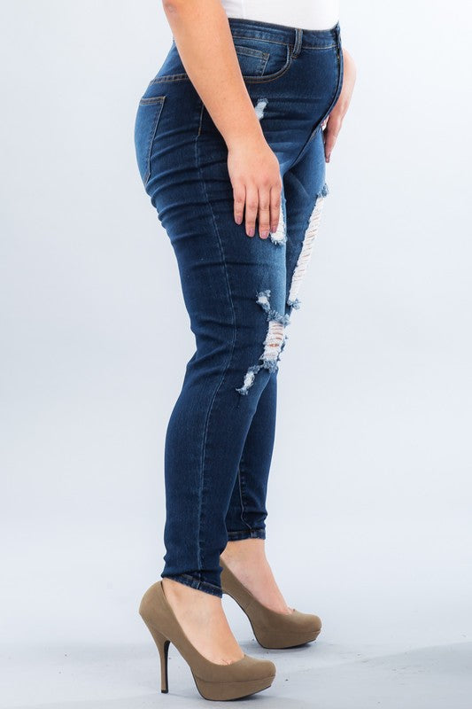 Breaking Plans High Waisted Skinny Jeans - Dk Blue