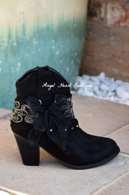 Dust On The Bottle Boots - Black - Miami Shoe - Boots - Angel Heart Boutique  - 1