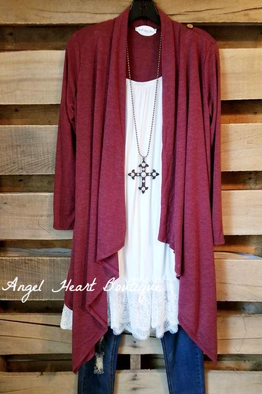 Two Way Cardigan - Two Tone Burgundy [product type] - Angel Heart Boutique
