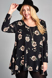 All The Florals Tunic - Black [product type] - Angel Heart Boutique