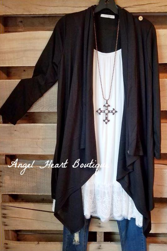 Two Way Cardigan - Black [product type] - Angel Heart Boutique