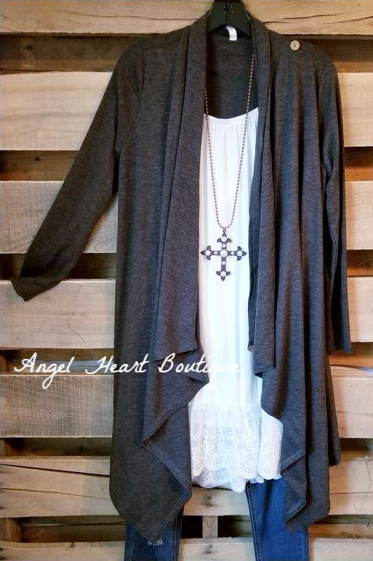 Two Way Cardigan - Charcoal [product type] - Angel Heart Boutique