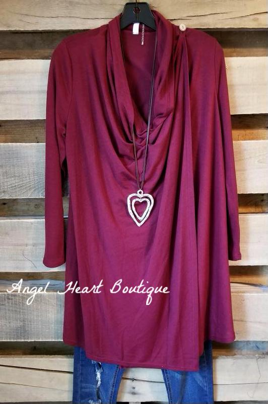 Two Way Cardigan - Burgundy [product type] - Angel Heart Boutique