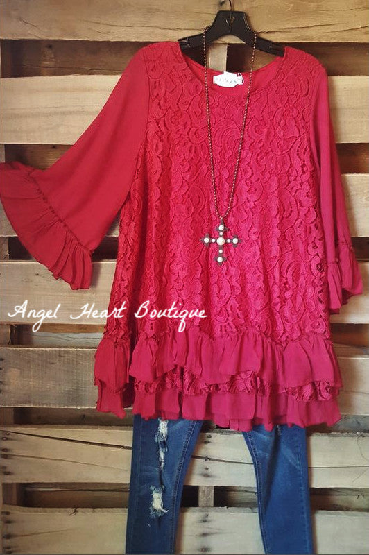 Fab Intuition Tunic - Red - Angel Heart Boutique - Tunic - Angel Heart Boutique  - 1