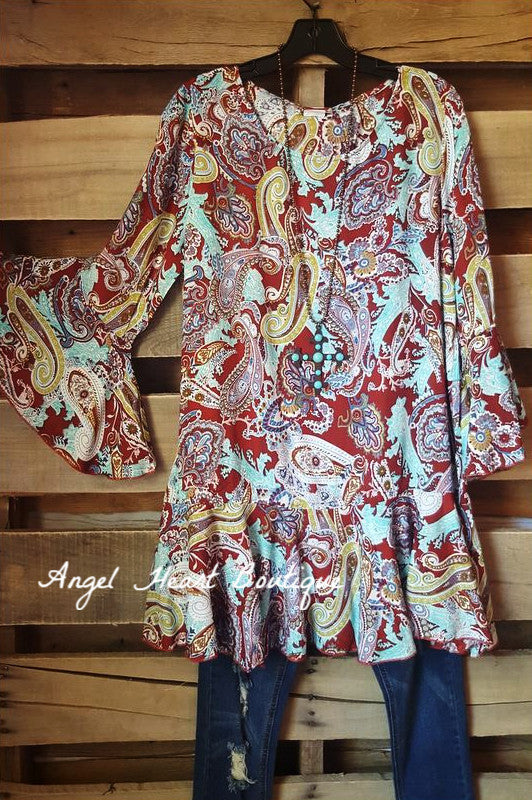 Paisley Dream Tunic - Red - Sassybling - Tunic - Angel Heart Boutique  - 2