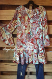 Paisley Dream Tunic - Red - Sassybling - Tunic - Angel Heart Boutique  - 1