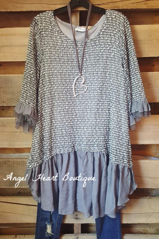 Grace & Love Sweater - Grey - Sassybling - Sweater - Angel Heart Boutique  - 3