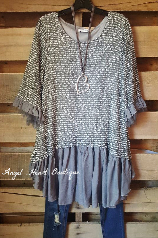 Grace & Love Sweater - Grey - Sassybling - Sweater - Angel Heart Boutique  - 2