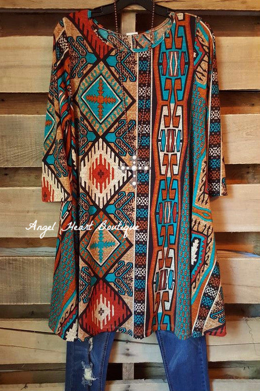 Finding Your Aztec Soul Tunic - Rust - Her She - Tunic - Angel Heart Boutique  - 2