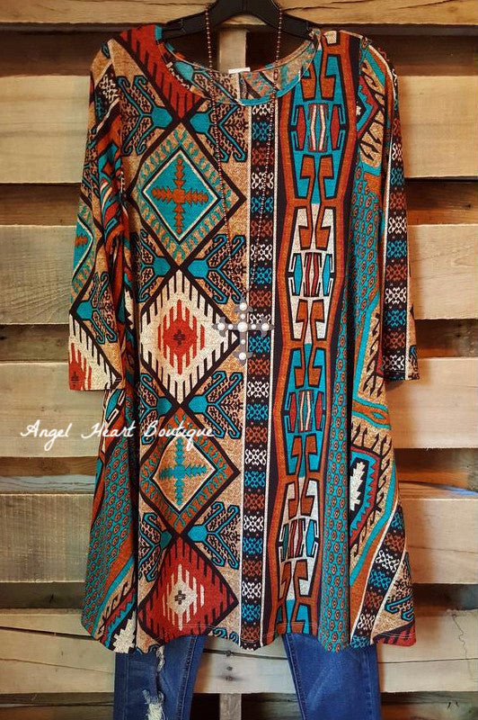 Finding Your Aztec Soul Tunic - Rust - Her She - Tunic - Angel Heart Boutique  - 1