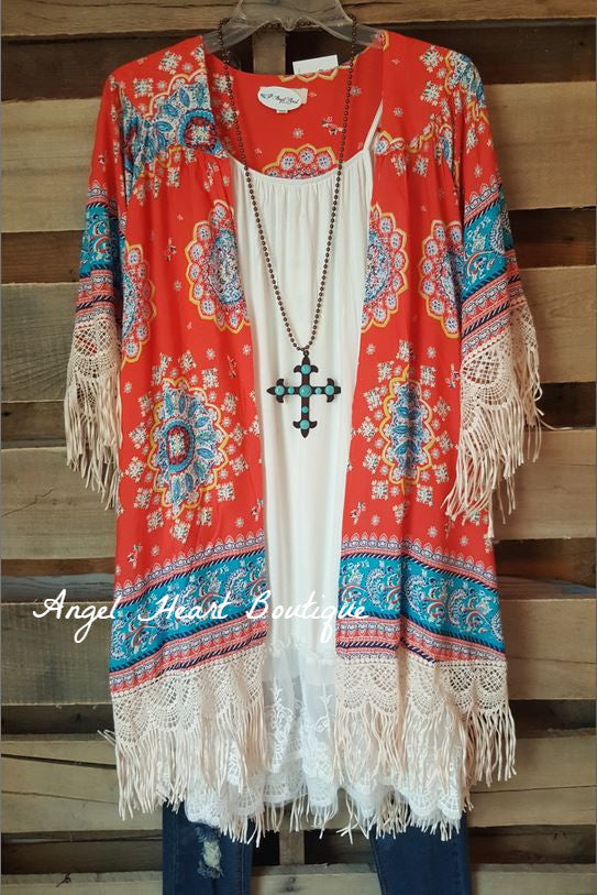 Paisley Sunset Kimono - Coral - Umgee - Cardigan - Angel Heart Boutique  - 1