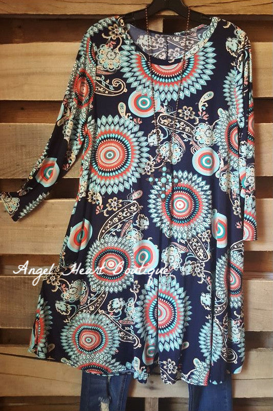 Meant To Be Mine Tunic - Navy - Sassy Look - Tunic - Angel Heart Boutique