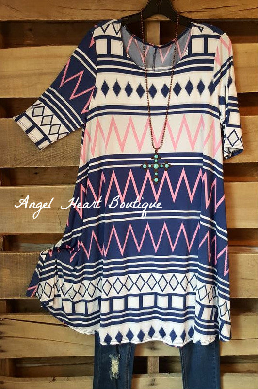 Ups and Downs Dress - Blue