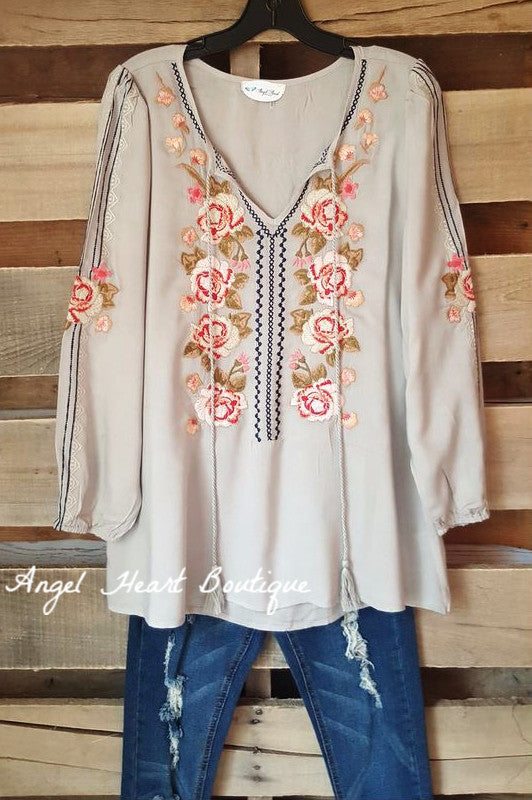 In The Name Of Love Top - Sage - Andree By Unit - Tunic - Angel Heart Boutique  - 1