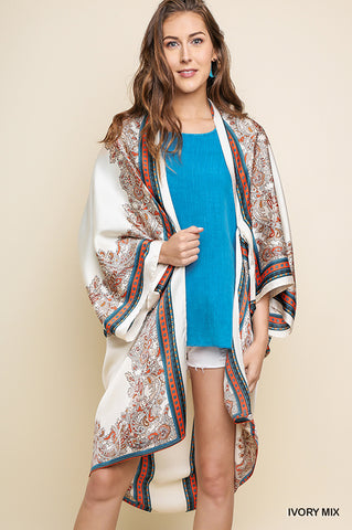 Flying High Satin Kimono - Navy - SALE