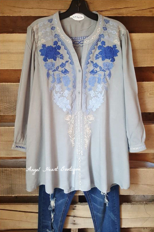 Like A Dream Tunic - Steel - Andree By Unit - Tunic - Angel Heart Boutique  - 1