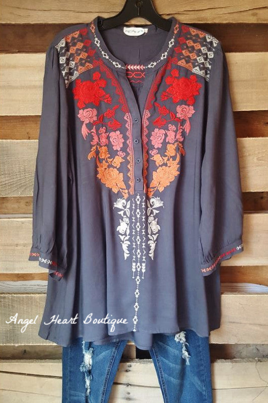 Like A Dream Tunic - Red Mix - Andree By Unit - Tunic - Angel Heart Boutique  - 1
