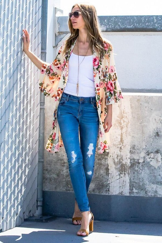 Floral Love Cardigan - Ivory Mix [product type] - Angel Heart Boutique