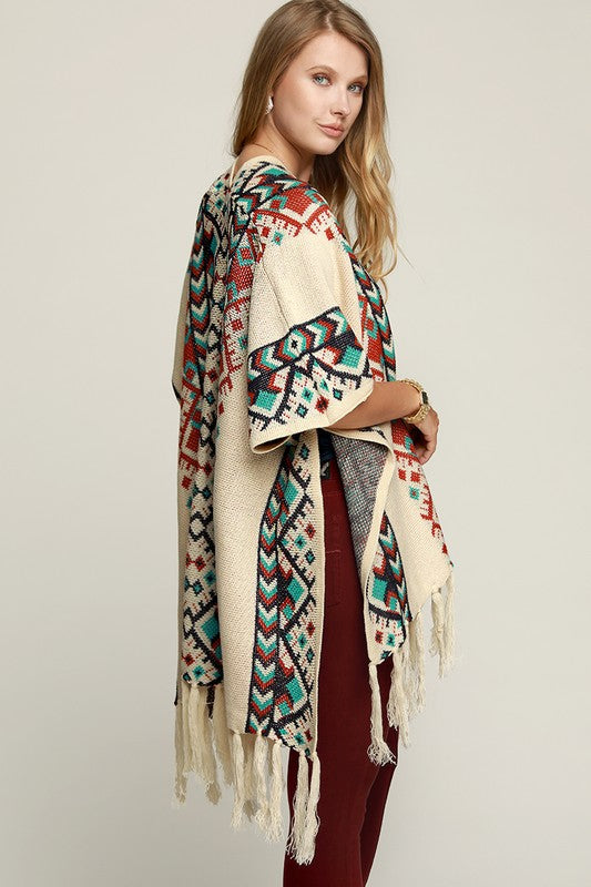 Navajo Vibes Poncho - Beige [product type] - Angel Heart Boutique
