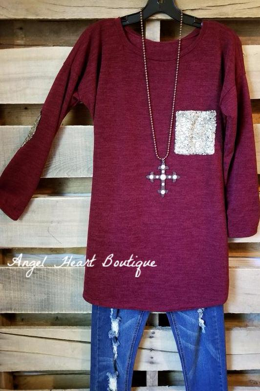 Simple and Cozy Sweater - Burgundy [product type] - Angel Heart Boutique