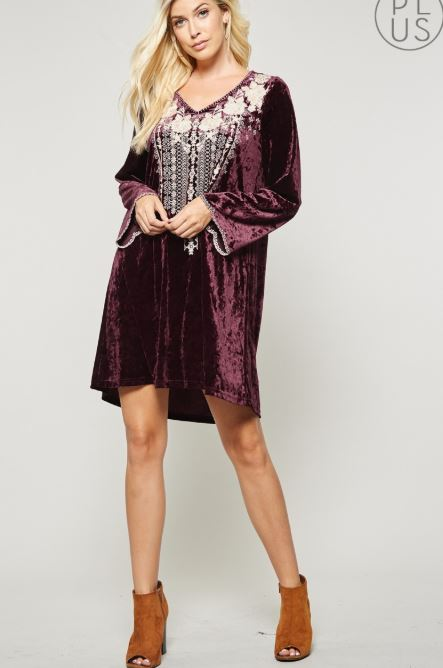 Fall is Calling Velvet Dress - Wine [product type] - Angel Heart Boutique